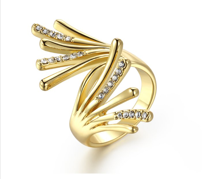 Gold Plated Wing Rings for Woman Rhinestone Paved Party Rings Fashion Jewelry