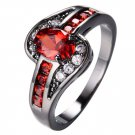 Red Oval Ring Fashion White & Black Gold Filled Jewelry Vintage Rings
