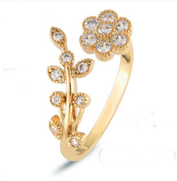 Adjustable Rings Gold Plate Flower Ring Mini Finger Women Rings Fashion