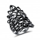 New Vintage Silver Color Hollow Out Wide Rings for Women Rhinestone