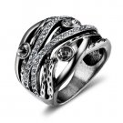 New Vintage Silver Color Women Multilayer Wide Rings Retro Rhinestone