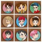 9 piece Korea POP EXO EXO-M EXO-K Albums Q Styles Brooch Pins Badge Broches