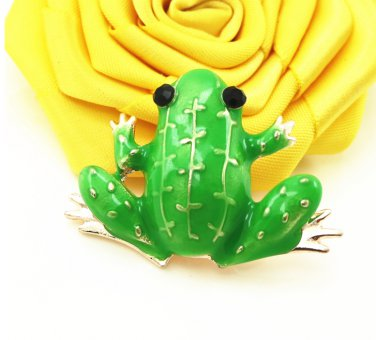 Fashion Jewelry Enameled Green Frog Brooch Pin Cute Animal Pin Women's Jewelry Brooches