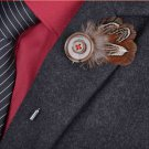 Vintage Handmade Button Feather Brooches for Men Brooch Pins Decorative Pin