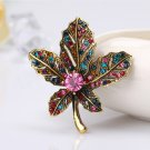 Vintage Leaf Brooch For Women Dress Suit Crystal Brooches Pins Badges Wedding Pary