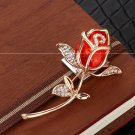 Rhinestone Brooch Pins For Women Rose Flower Broches Jewelry Fashion