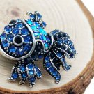 Cute Blue Crystal Fish Brooches Pin Animal Shinny Goldfish Brooch for Women Gift