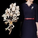 Fashionable Opal Stone Flower Brooch Pin Rhinestone Garment Accessories