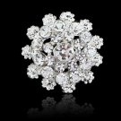 Charming Jewelry Bridal Bouquet Flower Pattern Brooch Pin Rhinestone Inlaid Crystal