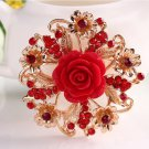 Fashion Resin Rose Flower Brooch Pin Birthday Gift Rhinestone Wedding Bridal Brooch