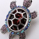 Turtle tortoise brooch pin pendant for women summer style crystal jewelry charm