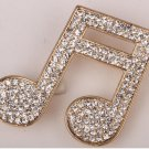 Music note brooch pin for women girls austrian crystal summer jewelry gold color