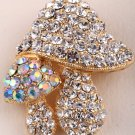 Mushroom brooch pin for women austrian crystal gold color jewelry gifts