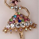 Fairy brooch pin for women girls austrian crystal summer jewelry charm gold color