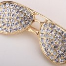Sunglasses brooch pin antique gold color W crystal fashion jewelry gifts for women girls