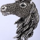Horse brooch pin pendant for women girls crystal jewelry animal charm antique