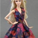 Handmade Unique Doll Clothes Red Black Flower Dress For Barbie