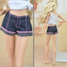 Blue Pink Color Handmade Jeans Bottoms Trousers Short Pants For Barbie Doll Clothes Fashion