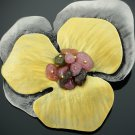 Large Flower Brooches Jewelry With Natural Stone Ladies Vintage Metal Brooch Pins