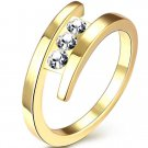Simple design gold color finger ring with AAA zircon 8 # woman fashion jewelry