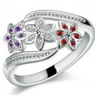 Beautiful flower design silver finger ring with zircon good quality fashion jewelry for women