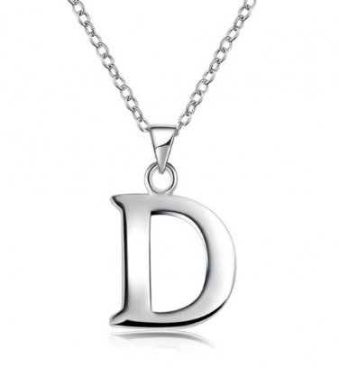 Silver Color Letter Pendant Necklace D Classic Fashion Woman Jewelry