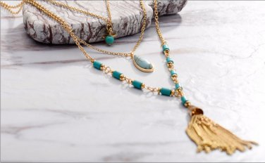 Multi Layered Chain Necklace for Women Light Gold Color Tassel Simulated Turquoise Y-Shaped Lariats