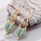 Geometric Turquoise Dangle Earrings for Women Light Gold Plated Long Drop Earring