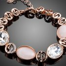 Rose Gold Color Gorgeous Party Jewelry With Pink Opal and Clear Stellux Austrian Crystal Bracelet
