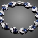 Romantic Flower With Heart Dark Blue Cubic Ziconia Charm Bracelet for Women