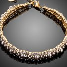 Gold Color 2 Rows Micro CZ Stones With Beads Bracelet for Women