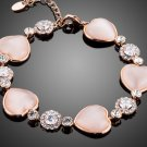 Romantic Lover's Gift Heart Rose Gold Color Tiny Crystal Around Cubic Zirconia Bracelet