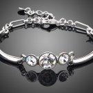 White Gold Color 3pcs Transparent Stellux Austrian Crystal End to End Bracelet