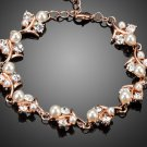 Gorgeous Rose Gold Color Clear CZ With Pearl Flower Bracelet
