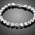 White Gold Color Stellux Austrian Crystal 24pcs Multicolour Round End to End Bracelet