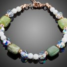Rose Gold Color Bracelets Mix With Green Crystal and White Tridacna for Women