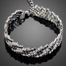 Fashion Female with Black and Clear Tiny Cubic Zirconia Paved Women Bracelet