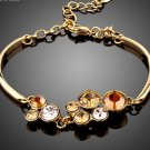 Sparkling Gold Color Round Stellux Austrian Crystal Water Drop Bracelet