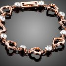 Rose Gold Color Clear Stellux Austrian Crystal Heart Bracelet