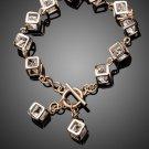 Brand Design Gold Color Stellux Austrian Crystal 12pcs Cube Charm Bracelet