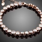 Elegant Rose Gold Color Tennis Bracelet With 29pcs Round Clear Stellux Austrian Crystal for Women
