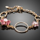 Gold Color Stellux Austrian Crystal 2pcs Flower and 3pcs Round Charm Bracelet
