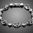 Double Heart with Clear Austria Rhinestone White Gold Color Bracelet