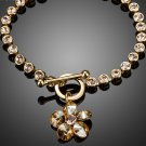 Gold Color with Round Stellux Austrian Crystals Flower Pendant Charm Bracelet