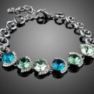 Genuine Colorful Austrian Crystal White Gold Color Charm Bracelets for Women