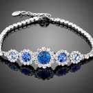 NEW White Gold Color Round Blue Stellux Austrian Crystal Water Drop Bracelet