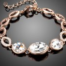 Rose Gold Color Marquise Clear Stellux Austrian Crystal Hollow Tennis Charm Bracelets