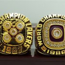 2PCS 1987 1988 Los Angeles Lakers Basketball world championship ring 8-14S