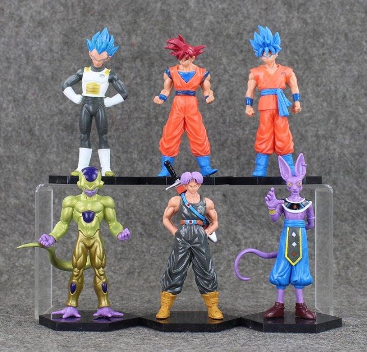 6pcs/lot Dragon Ball Figures Goku Vegeta Frieza Trunks Beerus Model Toy