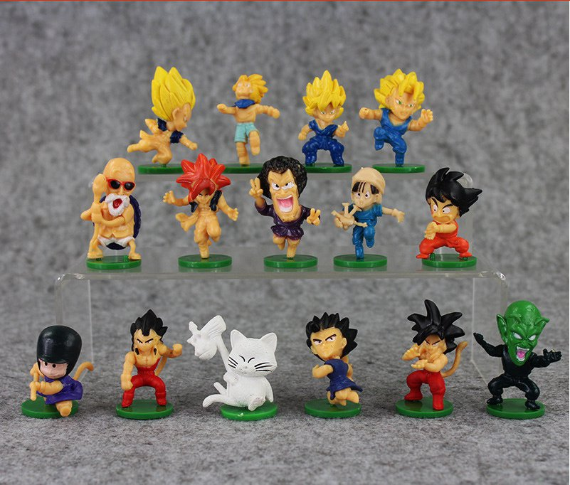 15pcs/lot 4-5cm Dragon Ball Figure Goku Vegeta Piccolo Pan Master Roshi Karin-Sama Mini